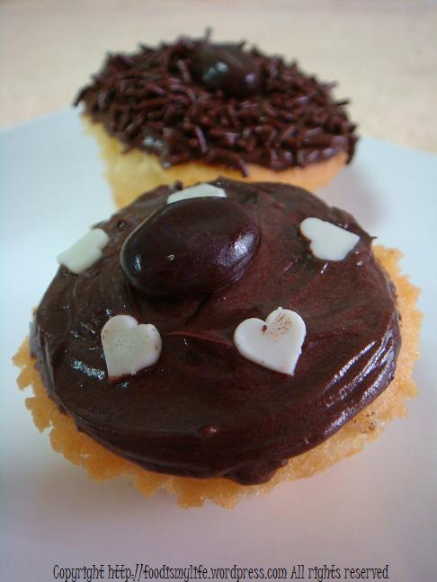 Vanilla Cupcakes with mocha frosting title