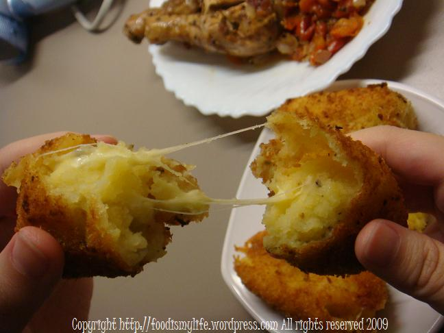 Potato Croquette - pulling of the cheese
