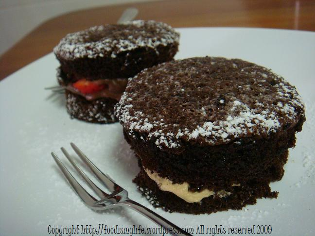 chocolate cake and coffee cake minis - title
