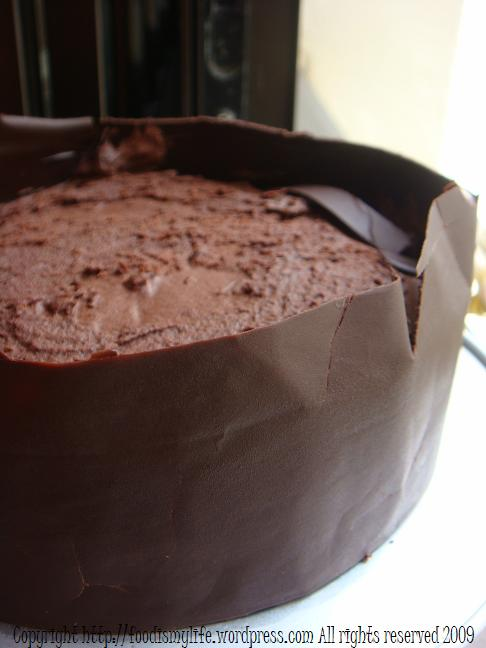 Chocolate cake with chocolate collar