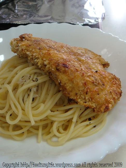 baked chicken cutlet - voila!